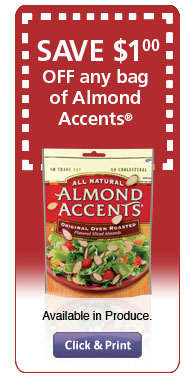 SAVE $1 OFF any bag of Almond Accents